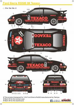 Ford Sierra RS500 88 Texaco Decal Tamiya 1/24